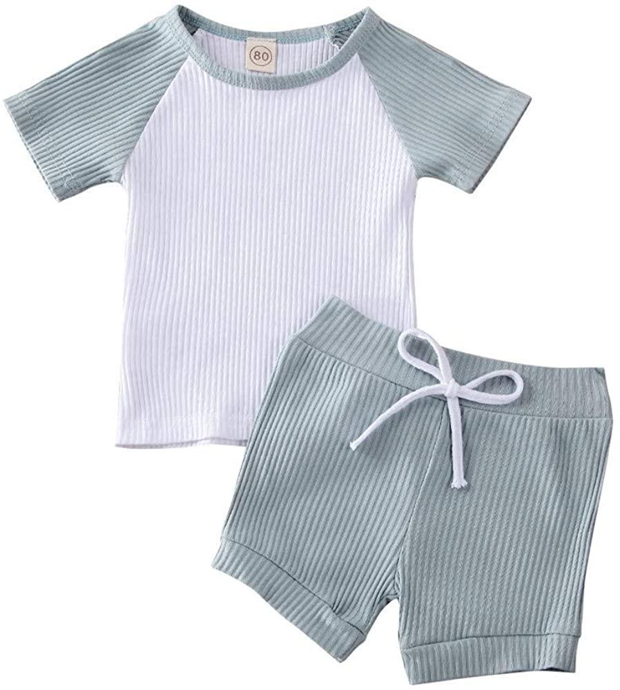Toddler Baby Girls Boys Summer Clothing Short Sleeve Tops T-Shirt Drawstring Shorts Outfits Set