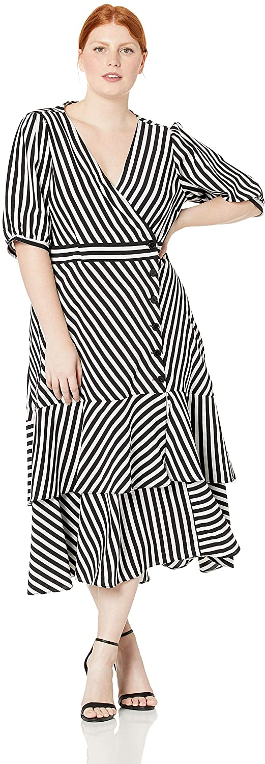 City Chic Women's Apparel Women's Plus Size V Neck Striped Dress with Fitted Waistline