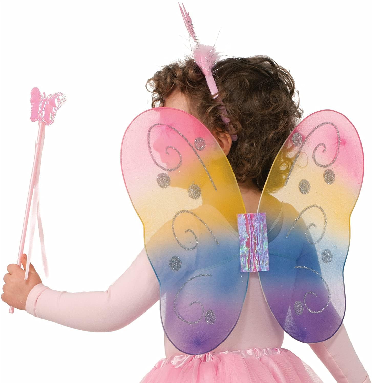 Forum Child Fairy Set with Wings/Wand/Headband (3 Piece), Rainbow