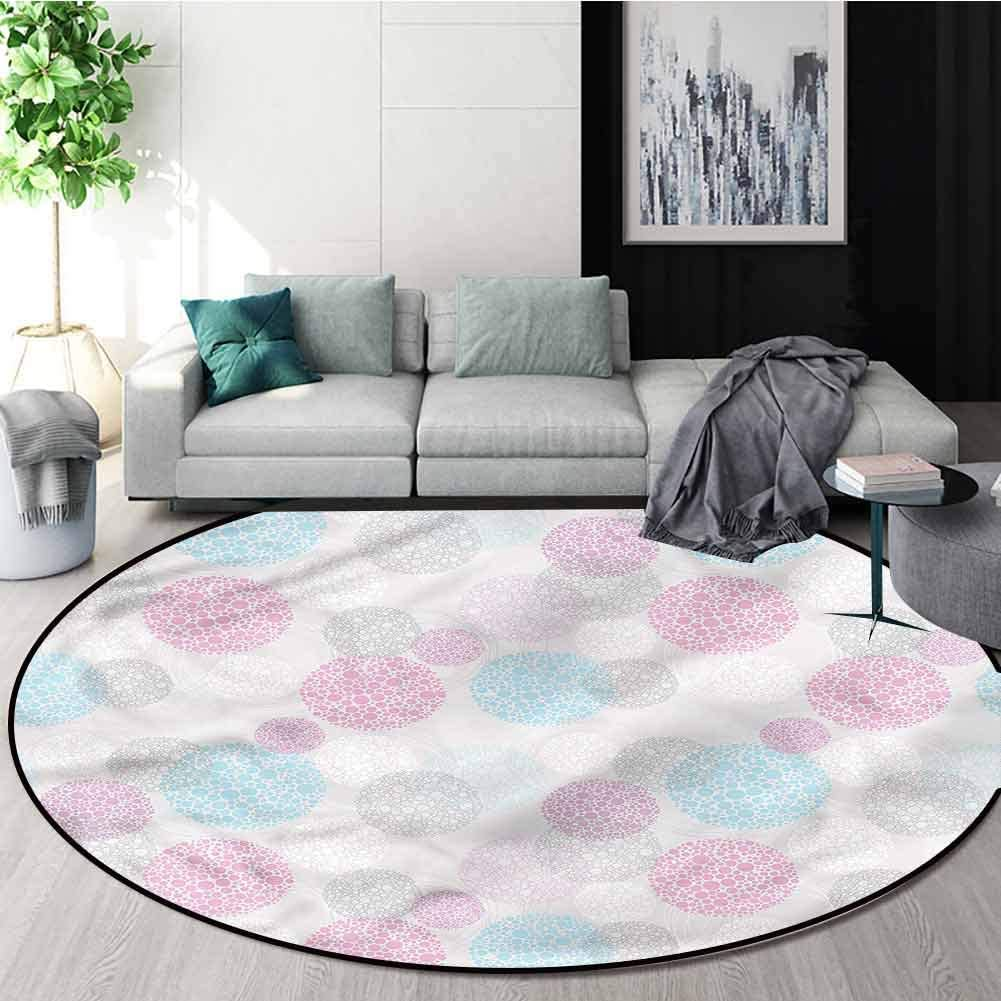 RUGSMAT Geometric Round Rugs for Bedroom,Pastel Colored Circles Carpet Door Pad for Bedroom/Living Room/Balcony/Kitchen Mat Diameter-35