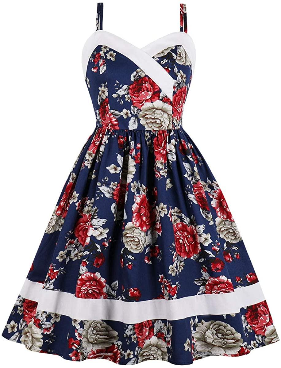 Wellwits Women's Floral Stripes Print Cami Strap Rockabilly Vintage Dress