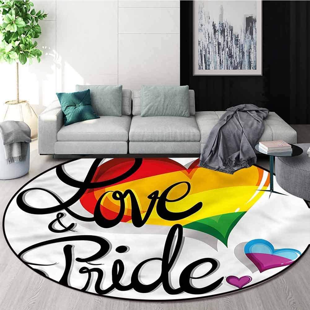 RUGSMAT Pride Anti-Skid Area Rug,Big Little Hearts Love Circular Area Rugs for Kids Bedroom Diameter-24