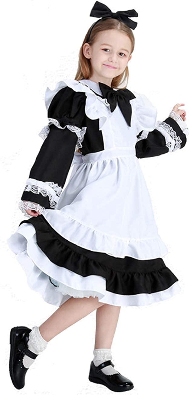 COSLAND Youth Girls' Lolita Maid Costume, Black, X-Large