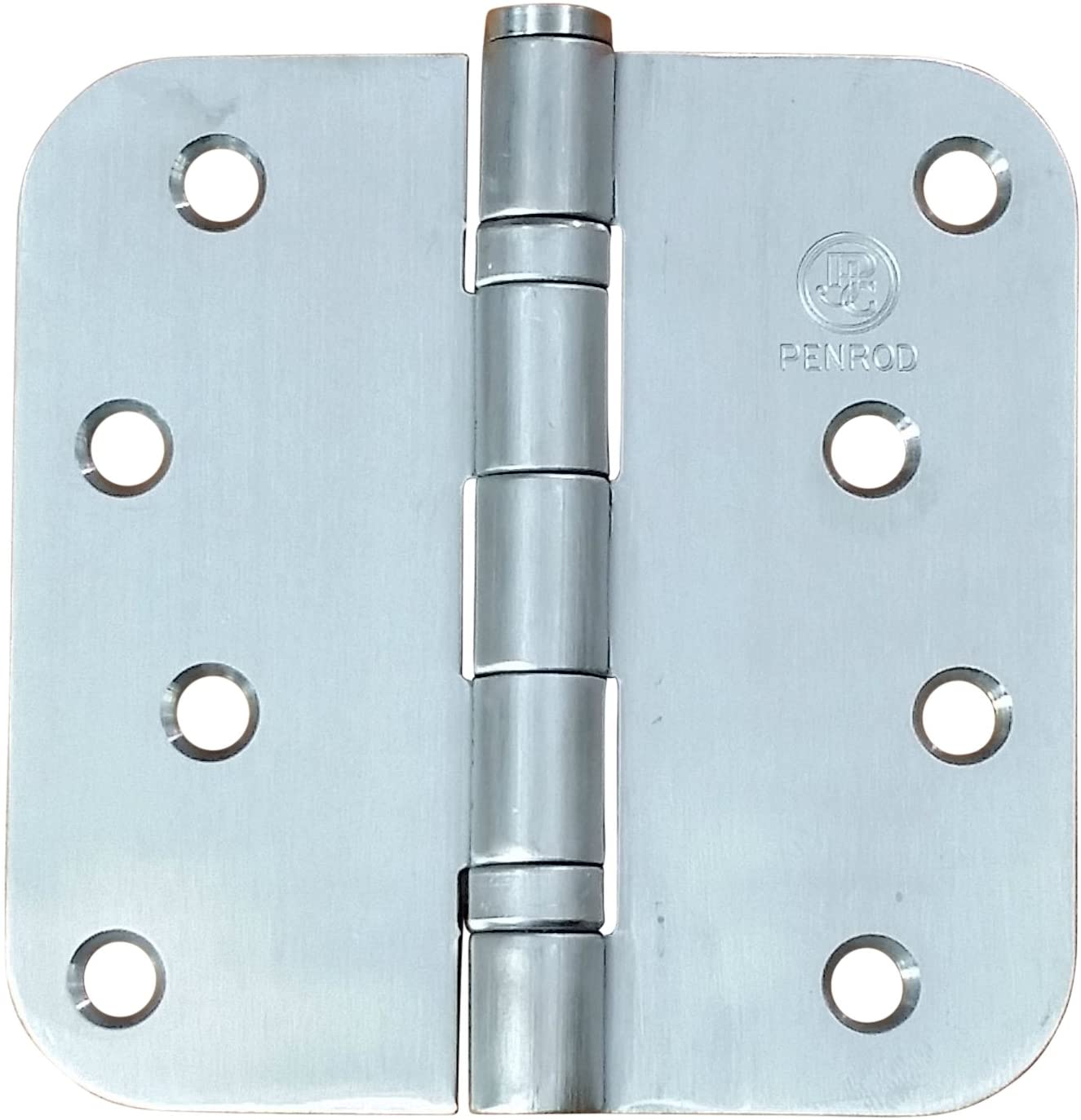 Penrod Stainless Steel Ball Bearing Door Hinges, 4 Inch with 5/8 Inch Radius, Riveted Non-Removable Pin, 3 Pack