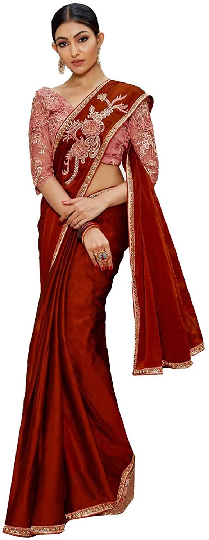 Indian Saree for Women Ethnic Sari Maroon China Chiffon Sari with Unstitched Blouse. ICW2759-3