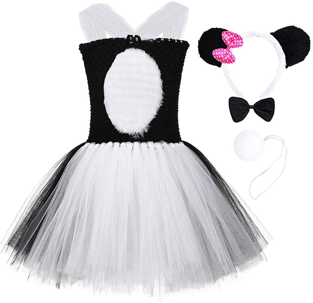 Tutu Dreams 4Pcs Panda Tutu Outfit for Girls 1-12Y with Panda Headband Bow Tie Tail