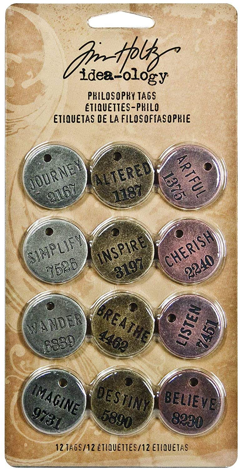 Metal Philosophy Tags by Tim Holtz Idea-ology, 12 Tags per Pack, 1 Inch, Antique Finishes, TH92678