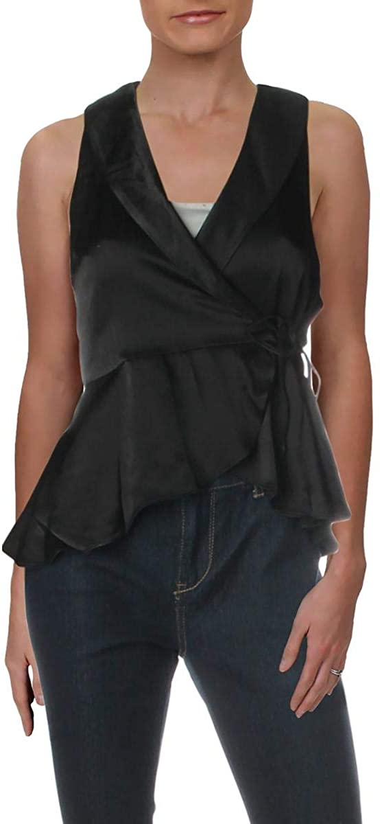 Free People Womens Suit Up Satin Sleeveless Wrap Top