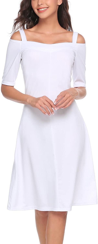 BEAUTYTALK Women's Cold Shoulder Half Sleeve A-Line Swing Pleated Dress