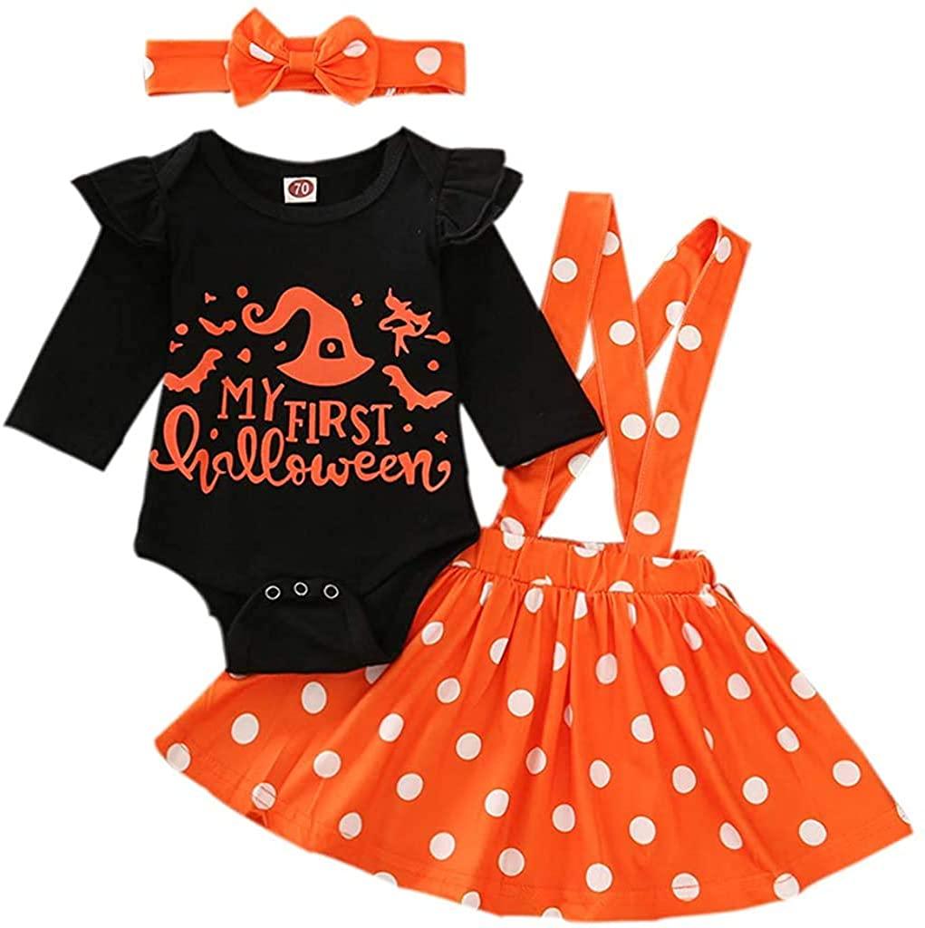 bilison Newborn Baby Girl Halloween Clothes My First Halloween Ruffle Sleeve Romper +Floral Suspender Shirt Headband Outfits
