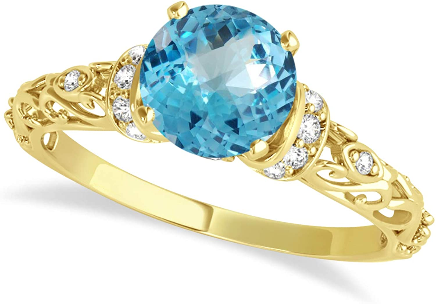 (1.62ct) 14k Yellow Gold Blue Topaz and Diamond Antique-Style Engagement Ring