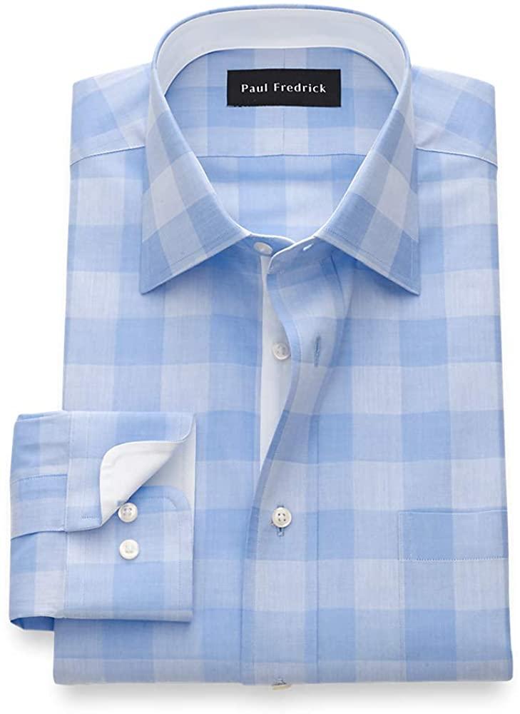 Paul Fredrick Men's Slim Fit Pure Cotton Gingham Dress Shirt