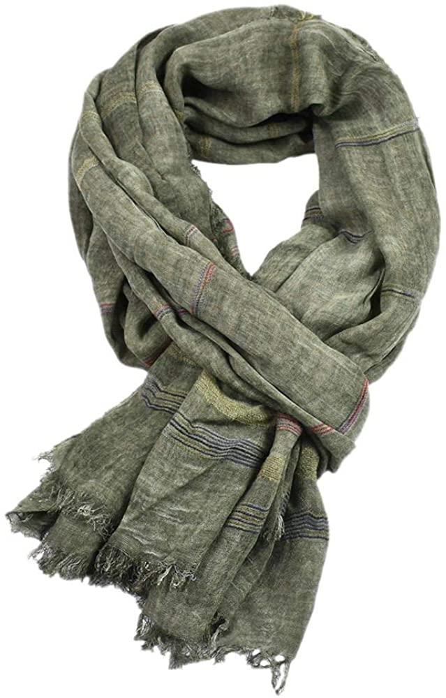 Kangqifen Men's Striped Scarf Cotton Linen Solid Scarfs 75 x 35 inches