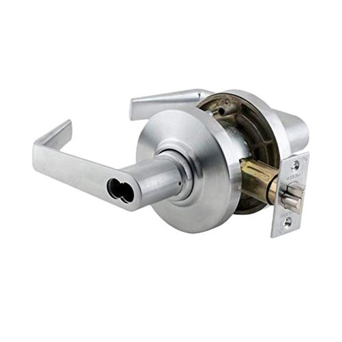 Schlage Commercial AL53JDSAT626 AL Series Grade 2 Cylindrical Lock, Entry Function Turn/Push Button Locking, Saturn Lever Design, Satin Chrome Finish