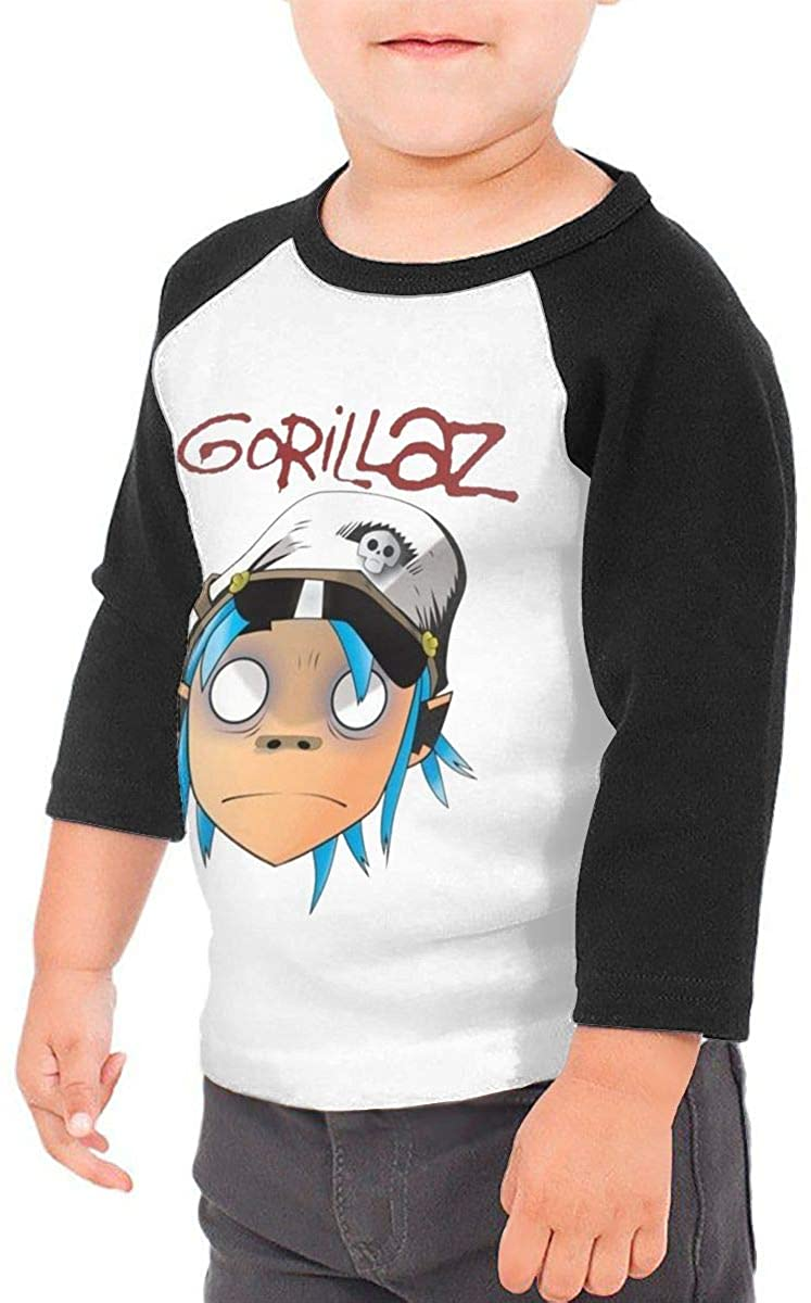 SHAADAMSNICKA Toddler Baby Girls Boys Gorillaz Fashion 3/4 Sleeve Raglan Shirt Baseball Tee Cotton T-Shirt