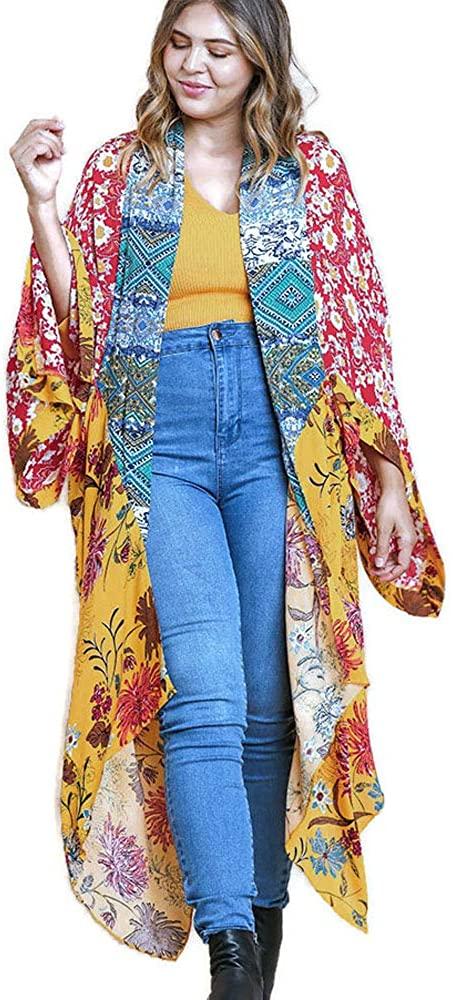 umgee USA Open Multicolor Long Body Kimono with a Floral Print Design