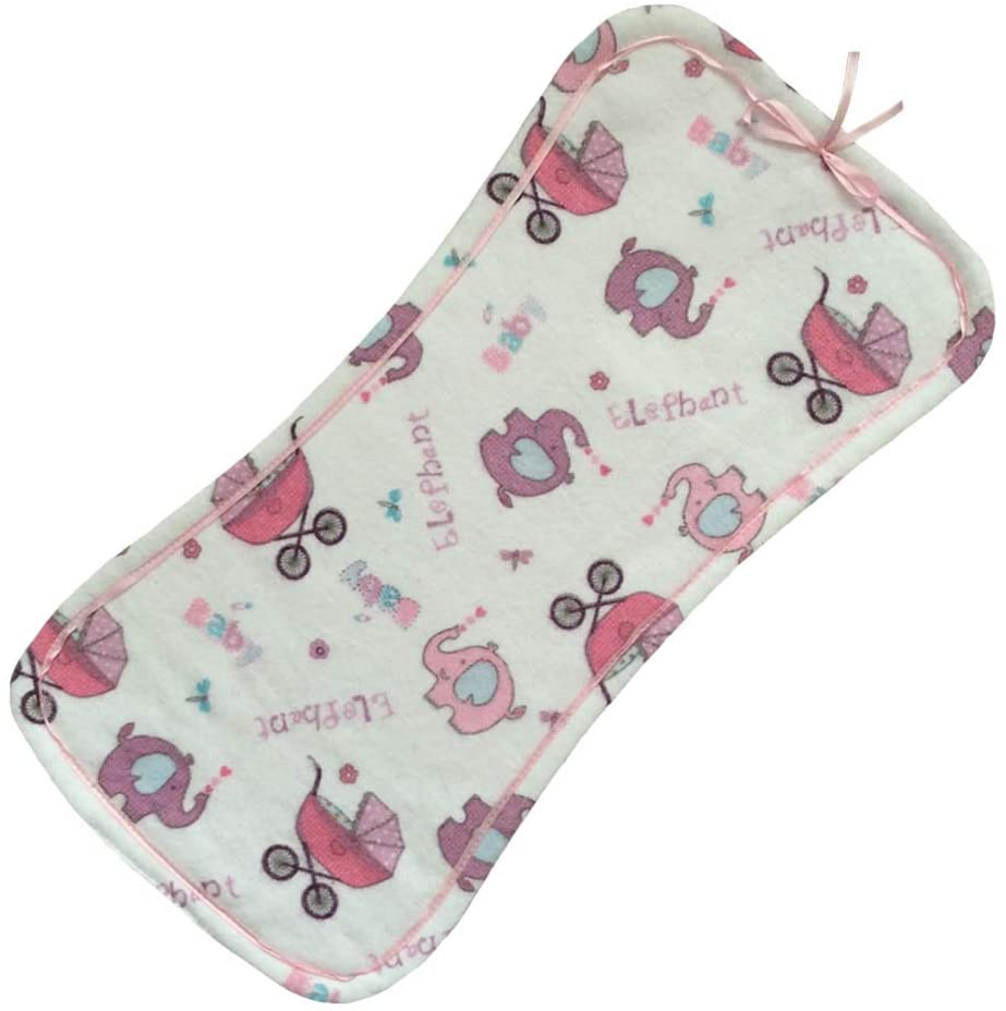 pillowerus Handmade 100% Cotton/Flannel Infant/Newborn/Baby Pink Burp Cloth Triple Layered/Absorbent/Soft - Elephant and Baby Pram Pattern with Pink Backside/Pink Ribbon Homemade