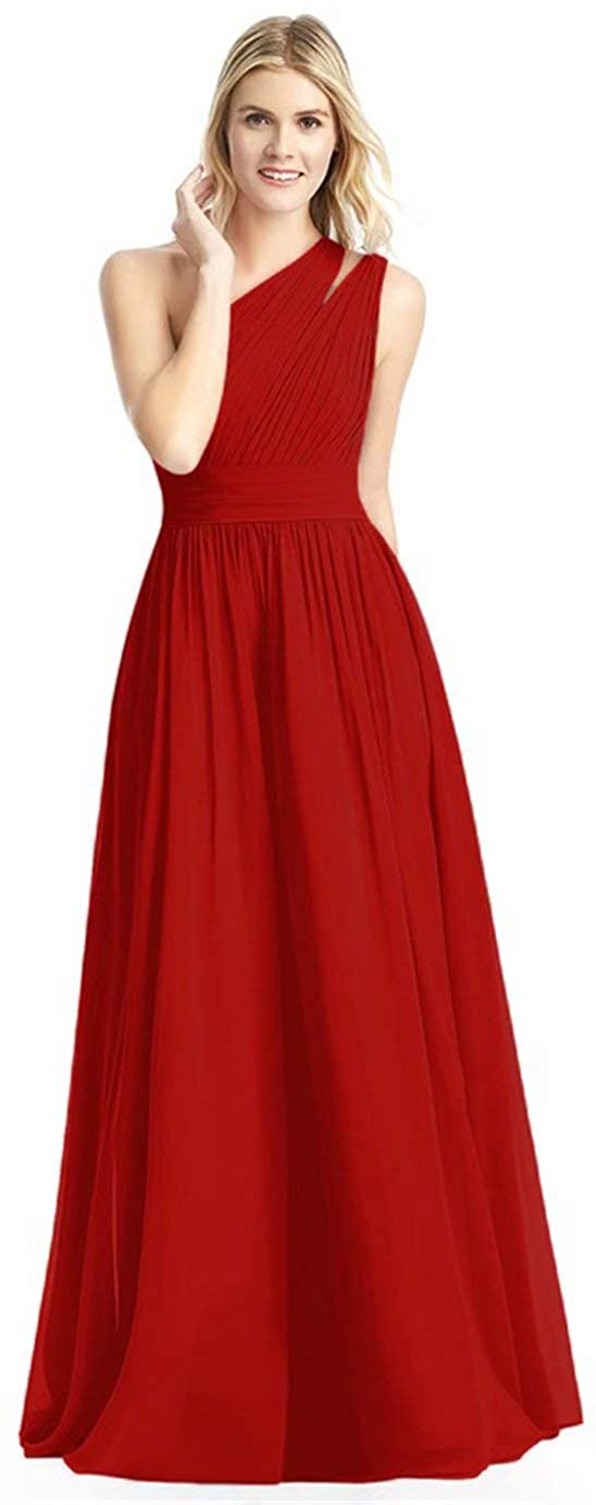 dongprom One Shoulder Bridesmaid Dress for Women Long Chiffon A Line Prom Formal Dresses with Pockets