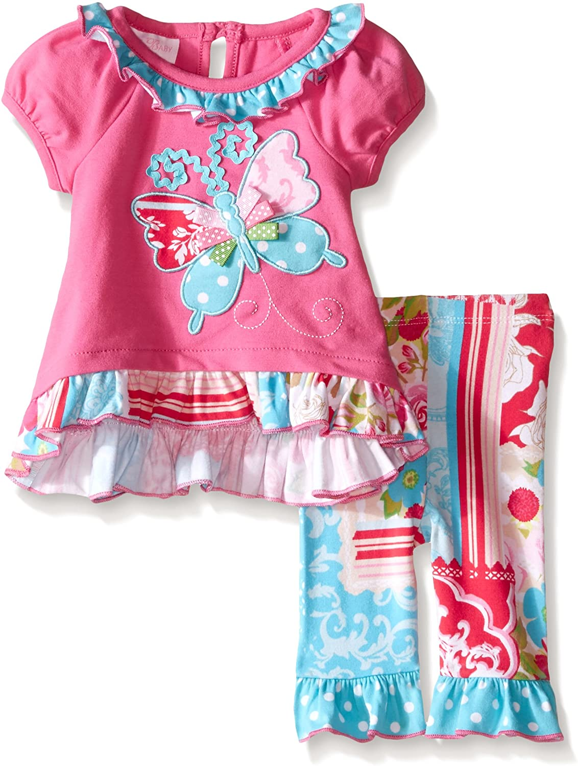 Bonnie Baby Baby Girls' Appliqued Knit Playwear Set