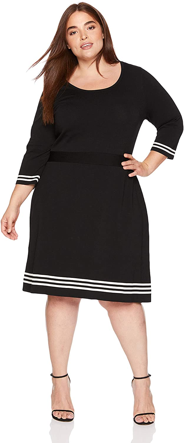 Anne Klein Women's Size Plus Three-Quarter Sleeve Fit and Flare Sweater Dress