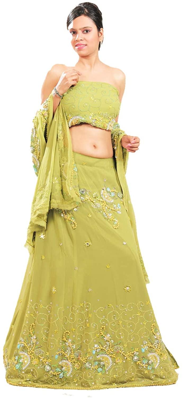 Indian Women Designer Partywear Ethnic Traditional Pista Lehenga Choli.