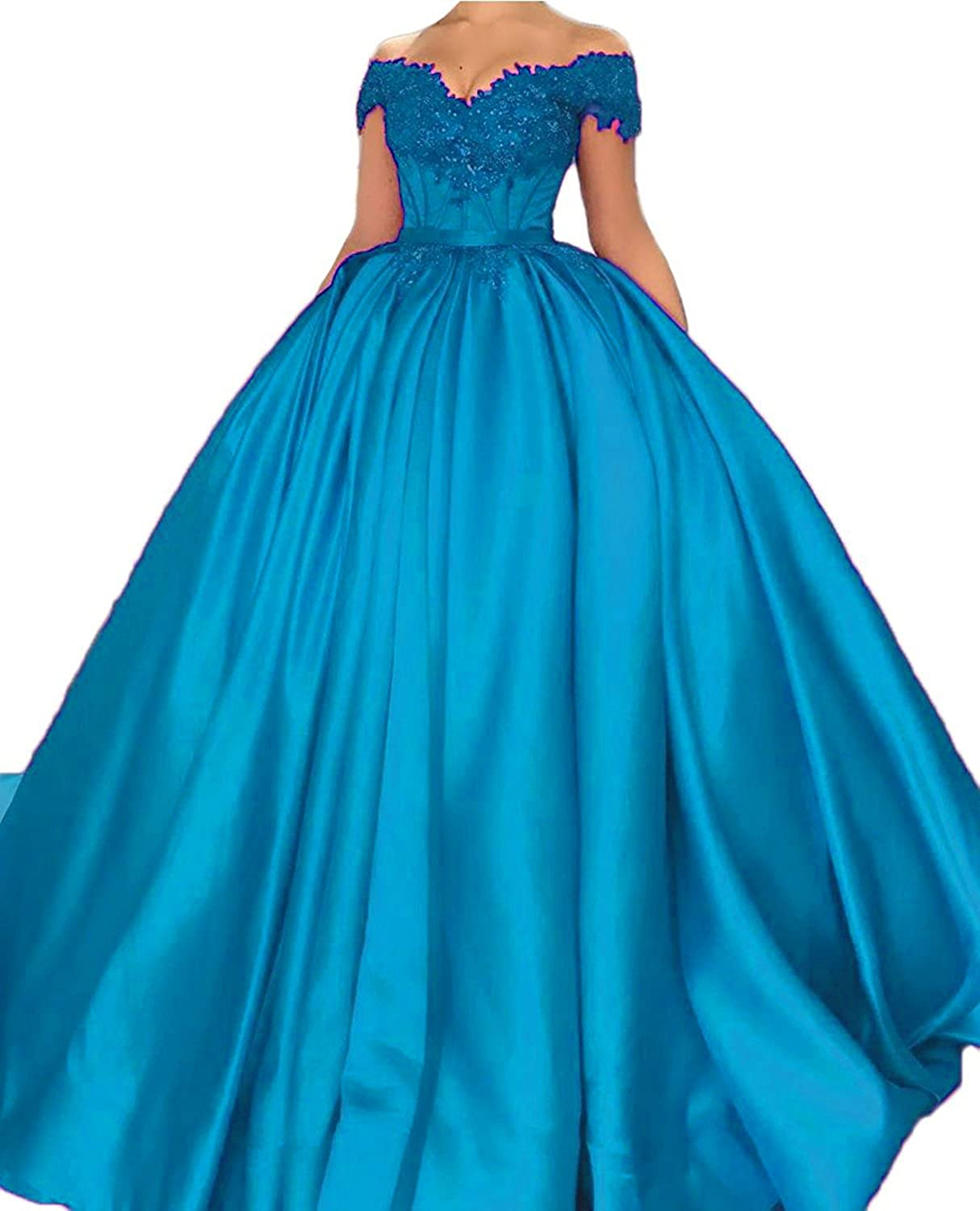 Women's Cap Sleeves Lace Beaded Evening Dress Satin Prom Ball Gown