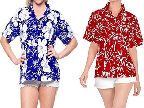 LA LEELA Women's Plus Size Hawaiian Shirt Beach Aloha Party Camp Shirt Work from Home Clothes Women Beach Shirt Blouse Shirt Combo Pack of 2 Size Small