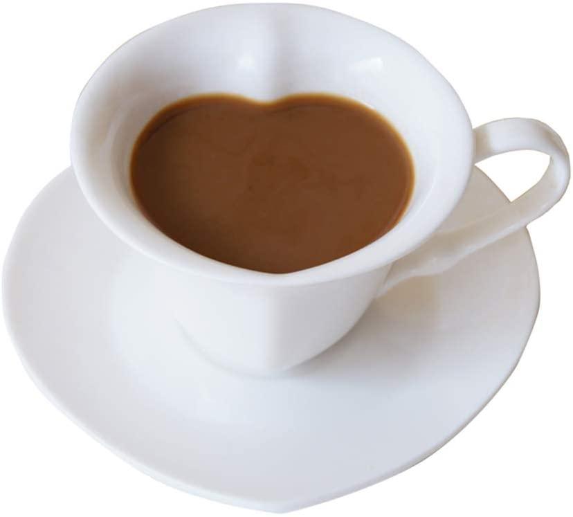 ZPFDM Heart Shaped Coffee Cup Set, Ceramic Tea Mugs Espresso Cups 150 Milliliter Heart Shape, Coffee Tea Cups Bone China, Fit for Home, Office, White