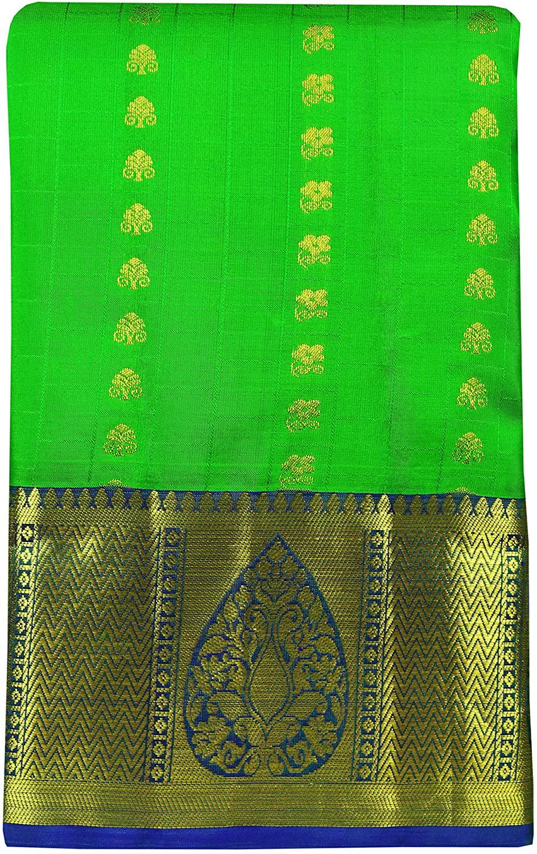 SARAVANABAVA SILKS Women's Kanchipuram Pure Pattu or Silk Sarees Tradtion Border Body Butta (SRBS00P519)