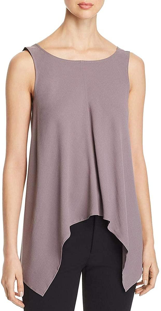 Eileen Fisher Womens Silk Drape Front Top