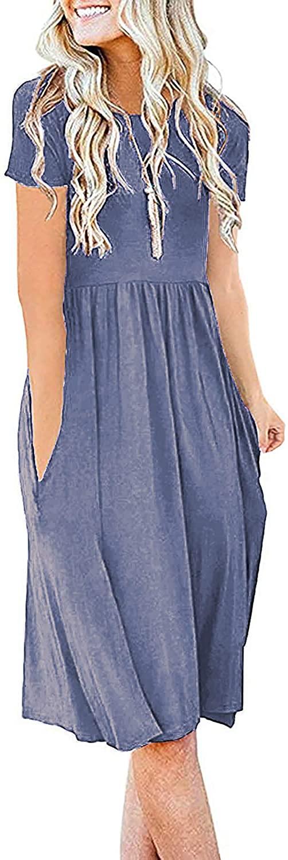 Durzasvo Women's Summer Casual Short Sleeve Swing Dresses Empire Waist Flowy Pocket Midi Dress