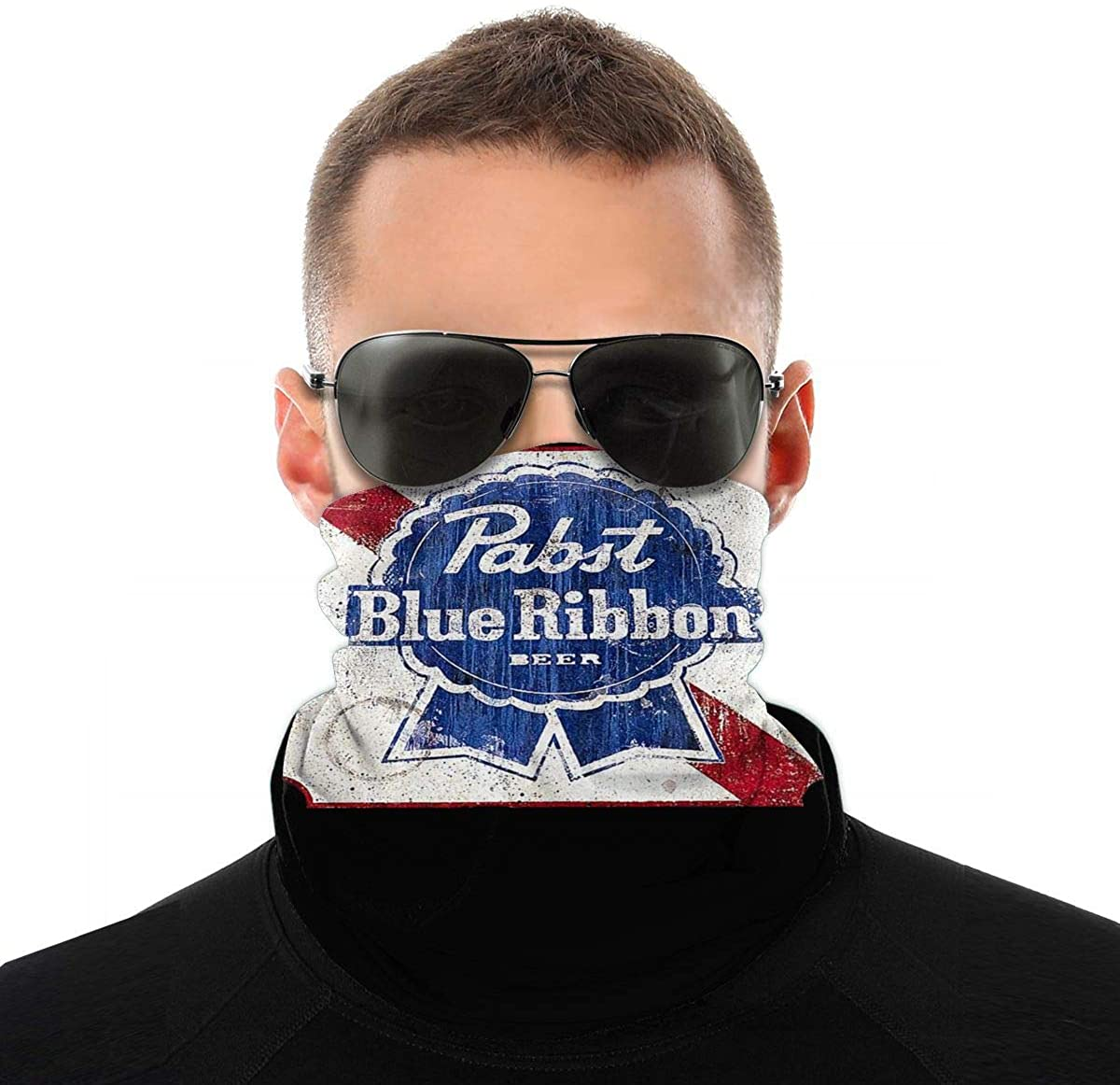 Men Women Face Mask Pabst Blue Ribbon Beer Protection Mouth Cover Neck Bandanas For Washable Outdoor Dust Sun Resitant