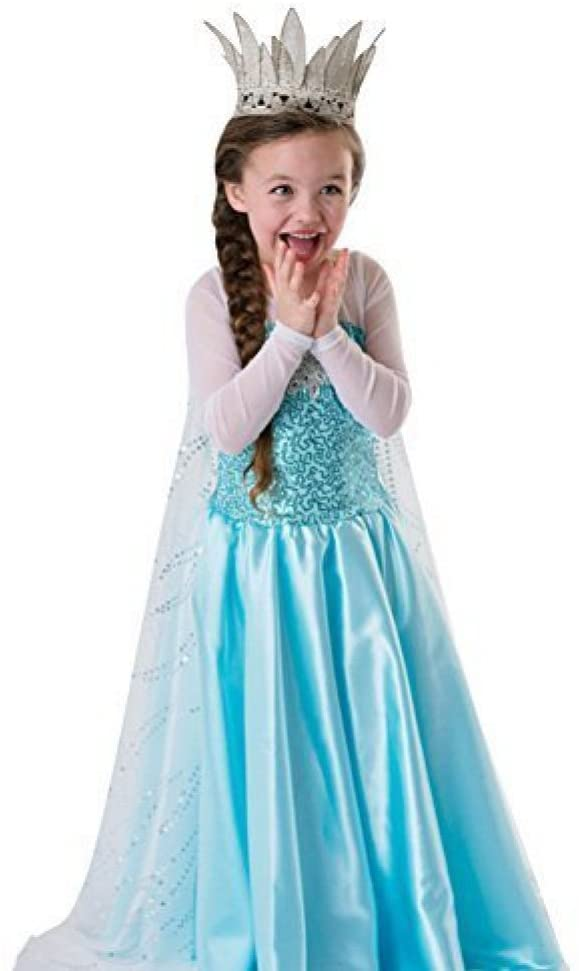 LOEL Girls Princess Costume Puff Sleeve Fancy Birthday Party Dress up(6-7years)