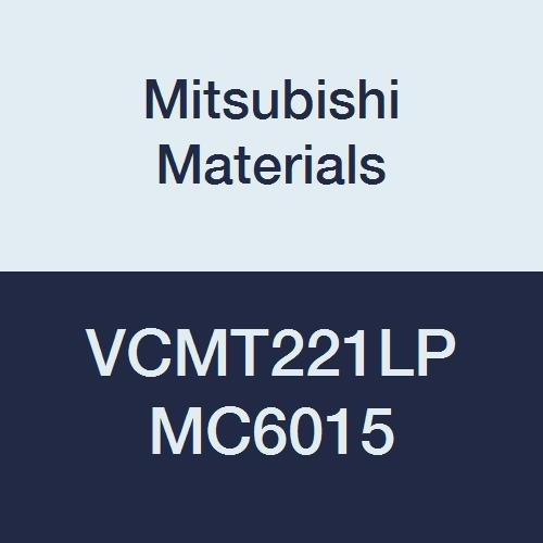 Mitsubishi Materials VCMT221LP MC6015 Carbide VC Type Positive Turning Insert with Hole, General Cutting, Coated, Rhombic 35°, 0.25