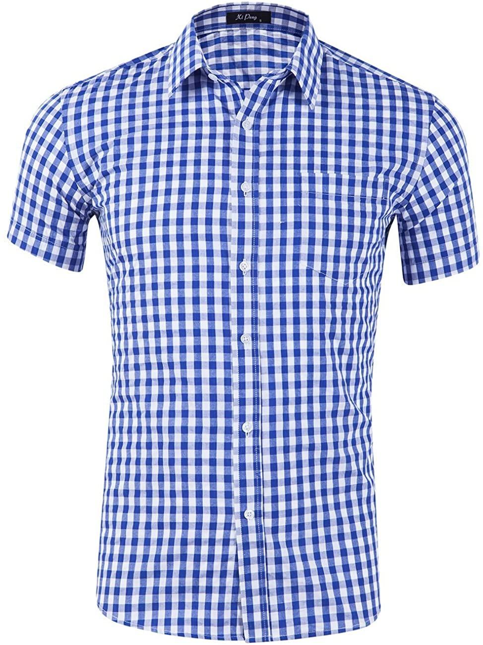 XI PENG Men's Casual Cotton Plaid Checkered Gingham Short Sleeve Dress Shirts