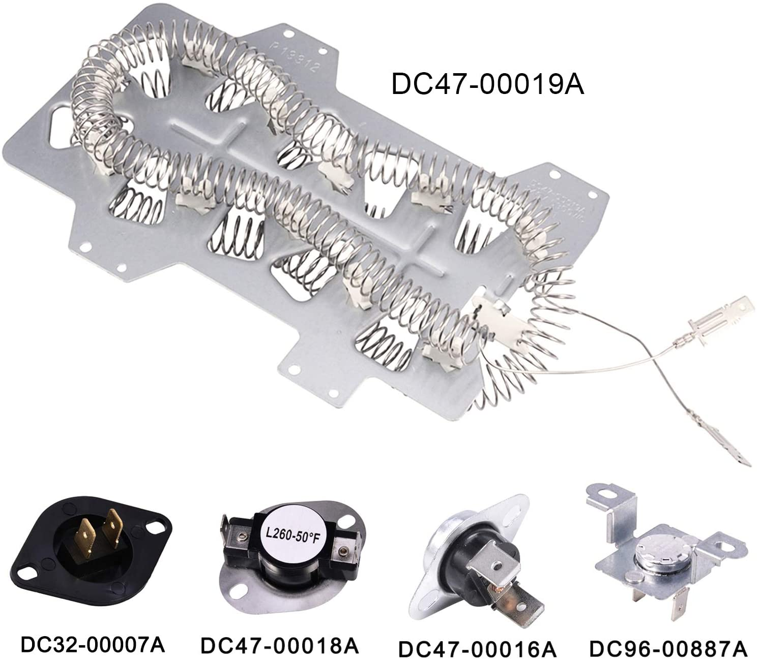 DC47-00019A Heating Element & DC96-00887A Assy Bracket Thermostat & DC47-00016A Dryer Thermal Cut-Off Fuse & DC47-00018A Thermostat & DC32-00007A Thermistor,Dryer Repair Kit for Samsung,Maytag(5 Pack)