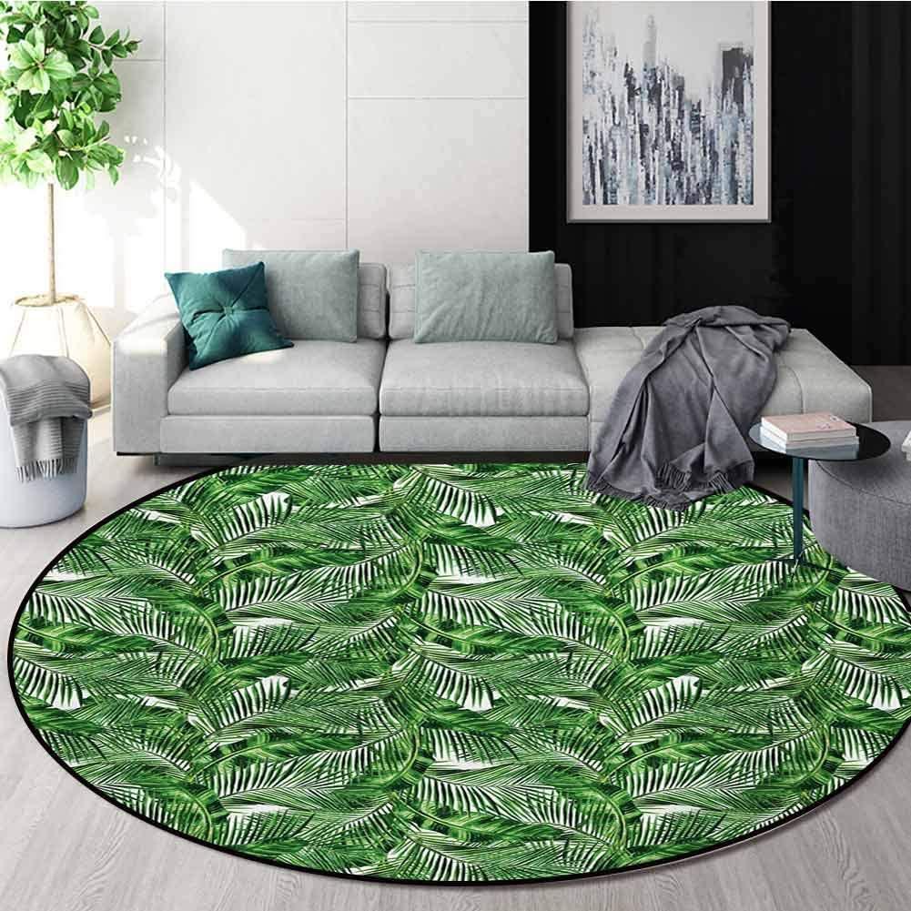 RUGSMAT Zen Machine Washable Round Bath Mat,Tropical Plants Background Feng Shui Style Refreshing Arrangement Nature Pattern Non-Slip No-Shedding Bedroom Soft Floor Mat,Round-55 Inch