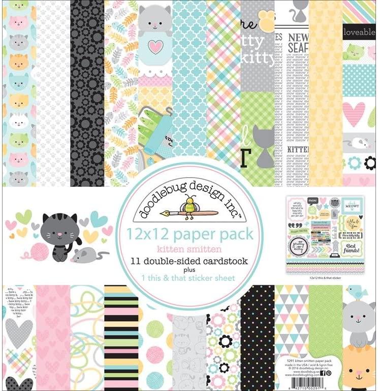 DOODLEBUG KS Swiss Dot Kitten Smitten Paper Pack 12x12