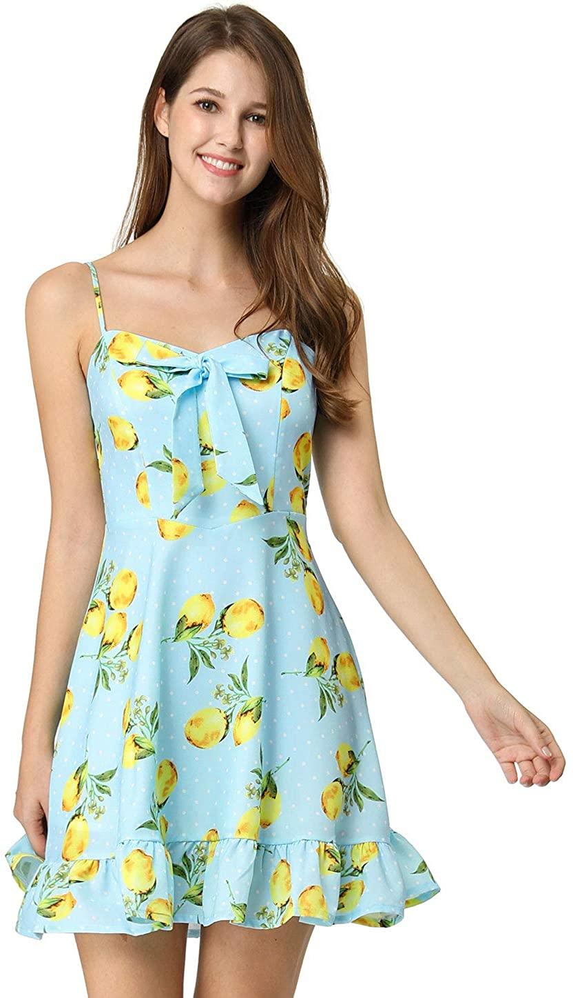 Allegra K Women's Spaghetti Strap Lemon Bowknot Ruffle Polka Dots Dress