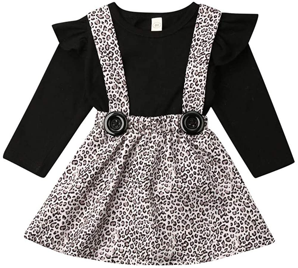 Toddler Baby Girl Suspender Skirt Sets Long Sleeve Shirts Top+Overalls Dresses Fall Outfit
