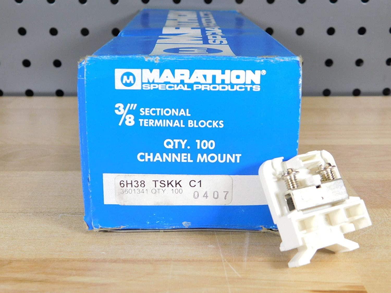(100) Brand New - Box of 100xPCS Marathon 6H38 TSKK C Terminal Blocks 3/8