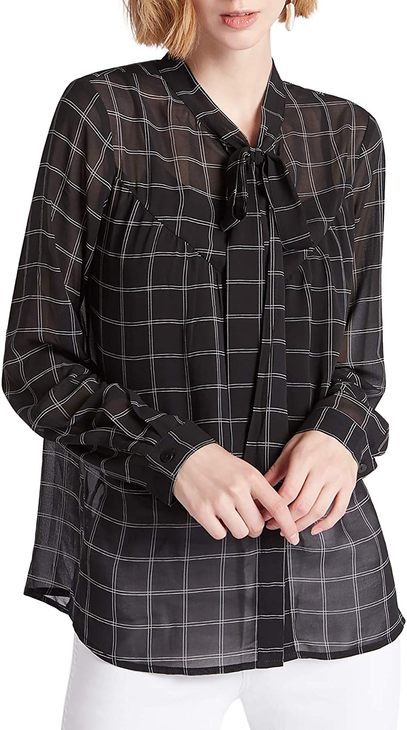 Our Heritage - Women's Button-Down Loose Shirt Blouse with Pussy-Bow Neckline