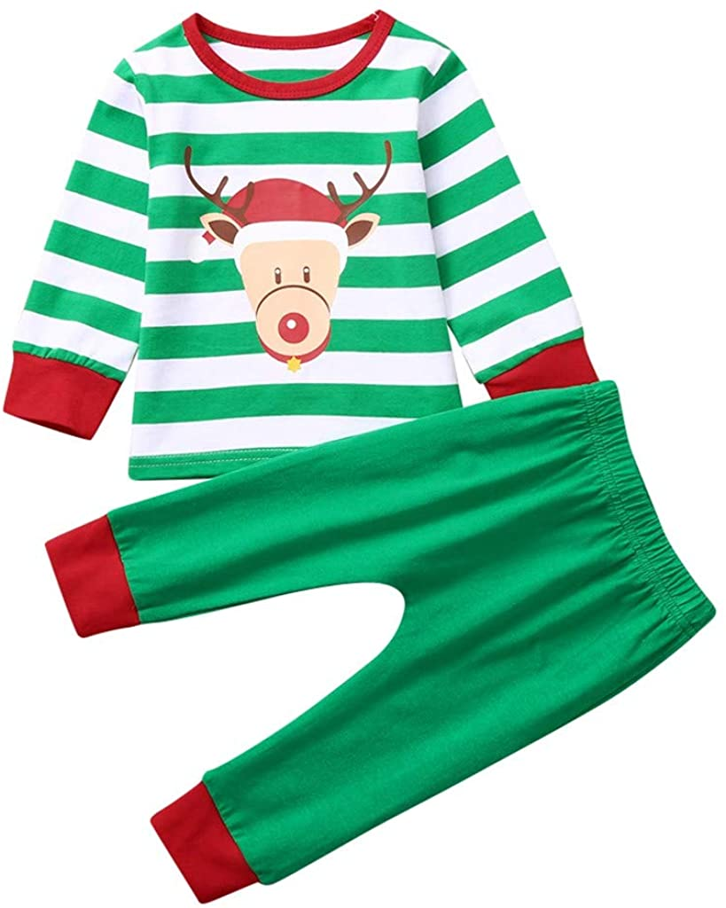 Christmas Infant Baby Boys Girls Outfits Set Cartoon Deer Printed Striped Tops+Pants Pajamas Clothing for 3-24 M