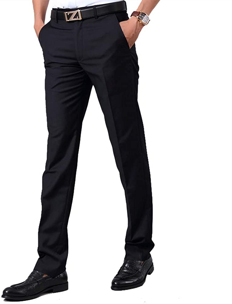 Wrinkle-Free Formal Business Suit Pants No Iron Dress Pants for Men