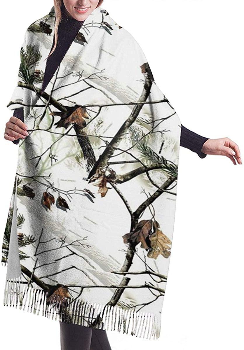 White Realtree Camo Women's Winter Warm Scarf Fashion Long Large Soft Cashmere Shawl Wrap Scarves