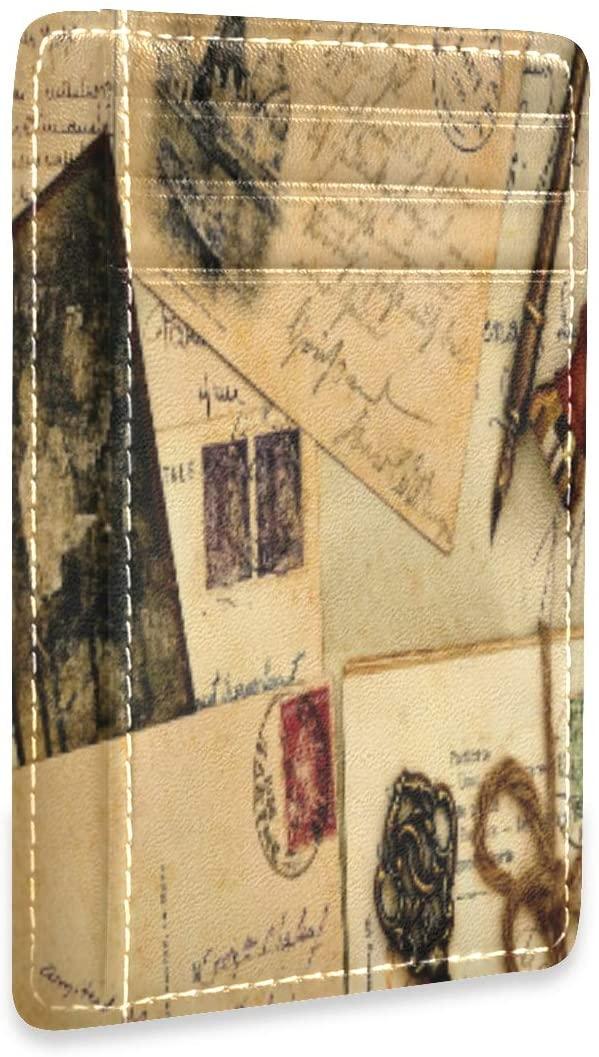 RFID Credit Card Holder Vintage Postcard Retro Leather Cardholder Wallet Slim Womens Mens