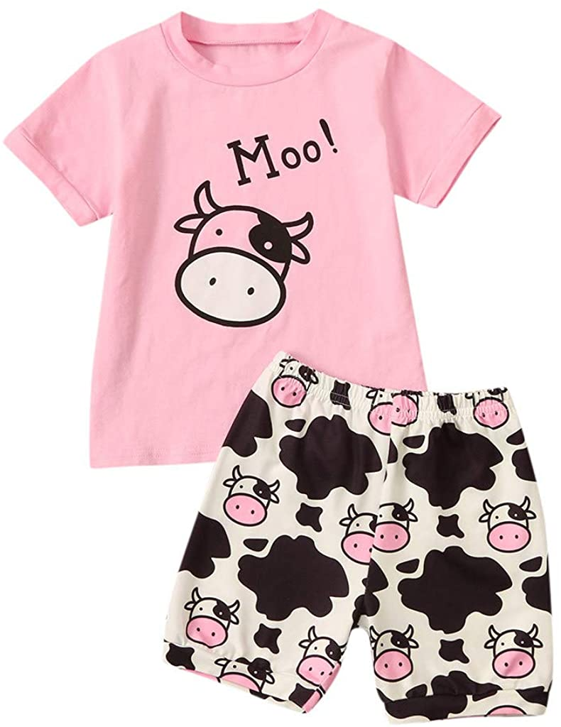 Adeliber Newborn Infant Baby Girls Cartoon Letter Cow Boys T-Shirt Tops Shorts Outfits