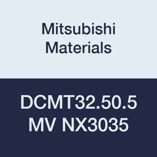 Mitsubishi Materials DCMT32.50.5MV NX3035 Uncoated Cermet DC Type Positive Turning Insert with Hole, MV Breaker, Rhombic 55°, 0.375