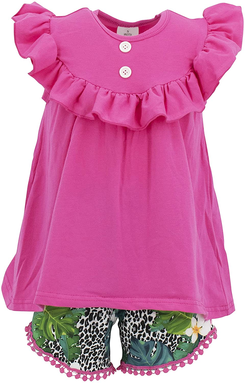 Unique Baby Girls Leopard Print 2 Piece Pom Pom Short Summer Outfit Set