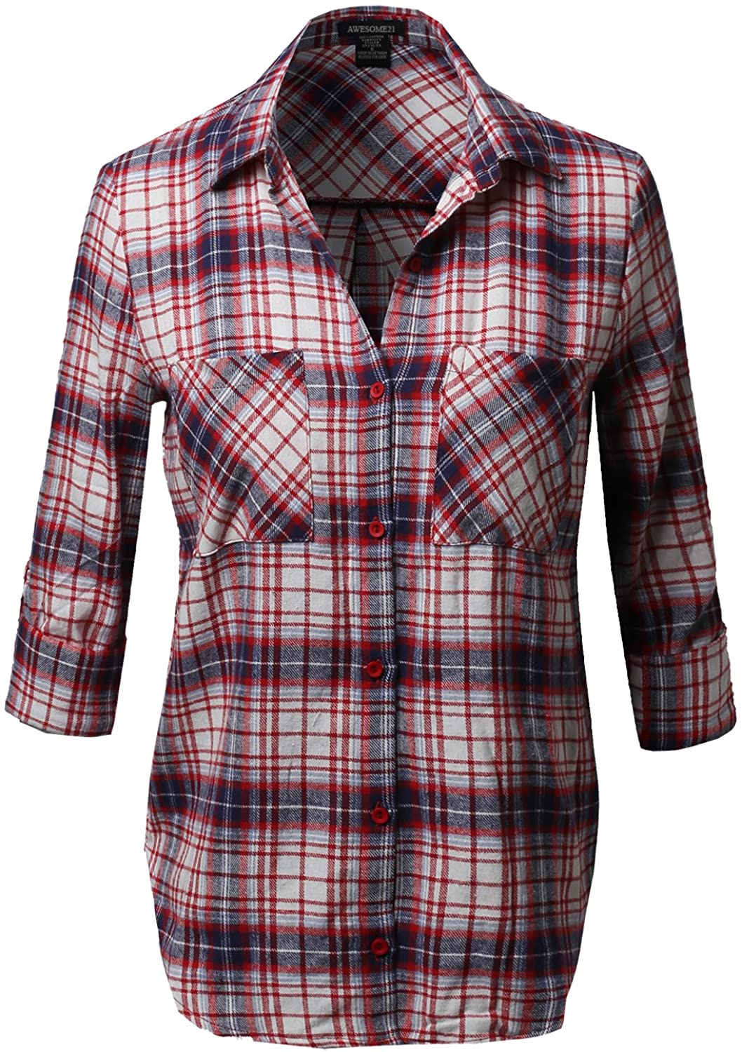 Awesome21 Womens Flannel Plaid Checker Roll Up Sleeves Button Down Shirt